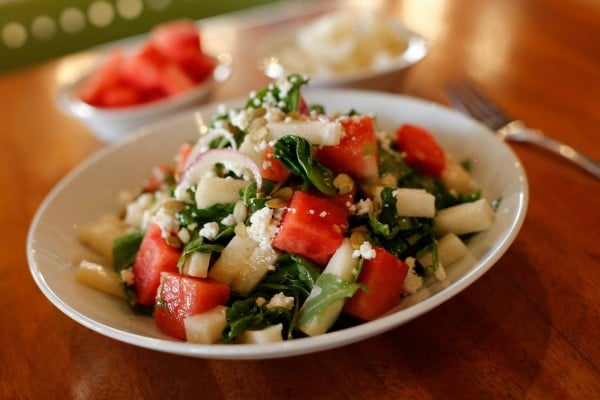 Seasonal Watermelon Salad from Sauce Pizza + Wine. Photo courtesy Sauce Pizza + Wine