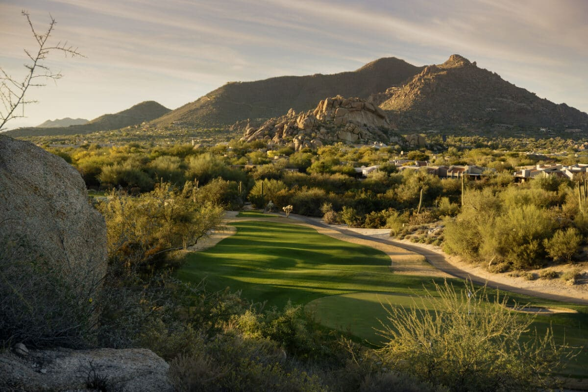 Golden hour Arizona landscape, Scottsdale, Phoenix area,USA. Photo by BCFC via iStock by Getty Images