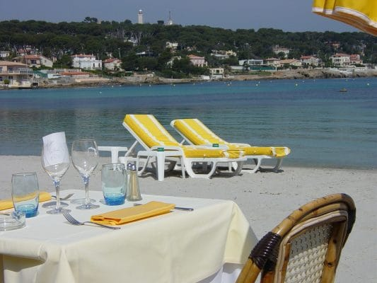 Plage Keller offers a lovely spot for lunch or dinner on the beach in Antibes. Photo by Susan Lanier-Graham