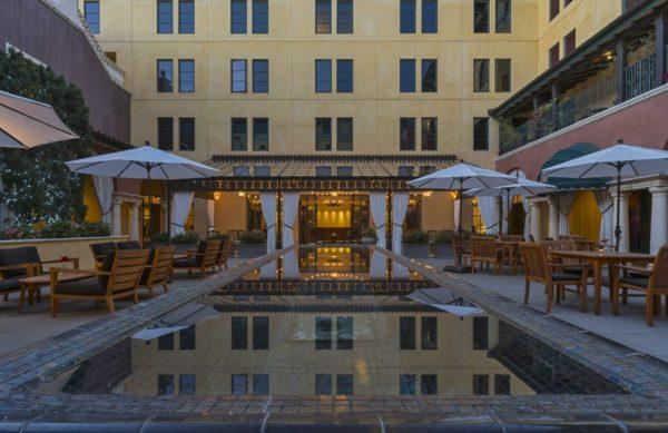 The outdoor courtyard at Hotel Valencia Santana Row.