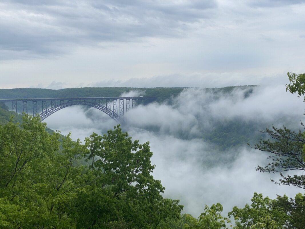 New River Gorge Bridge in mist