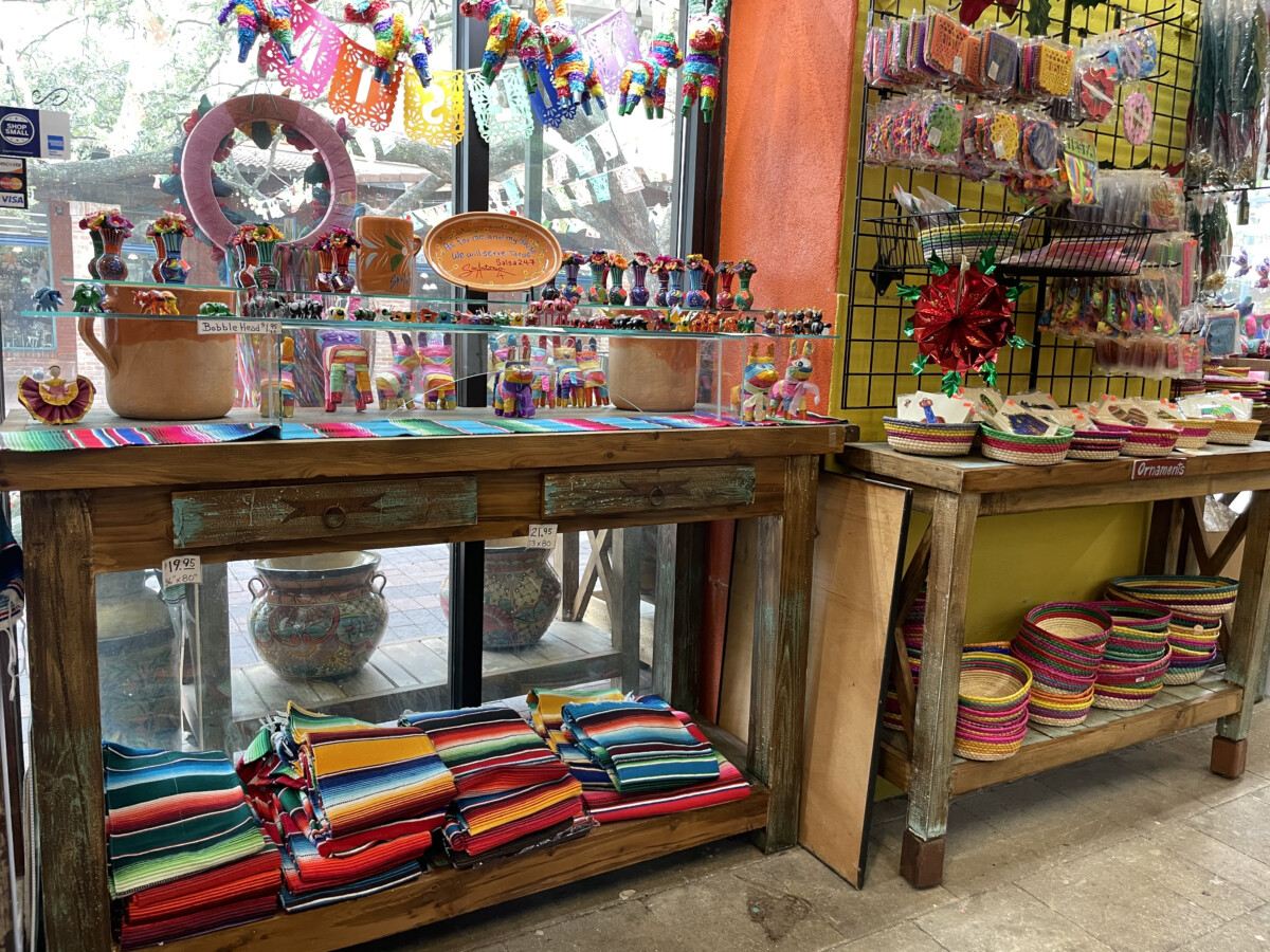 Mexican imports at the Market Square shops. Photo by Penny Sadler
