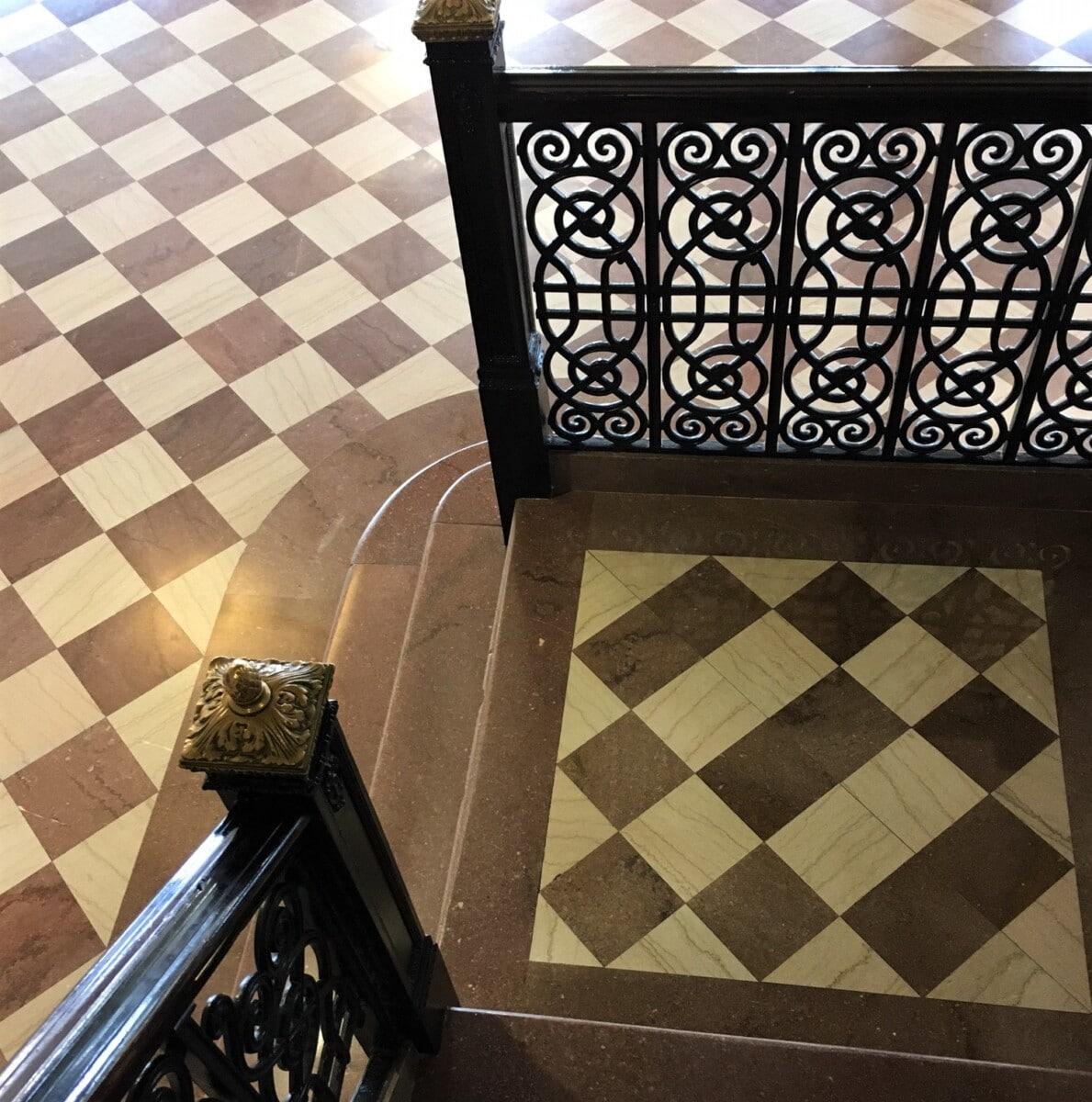 architectural detail on stairway