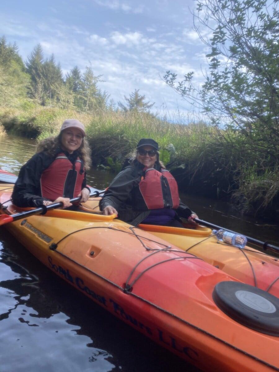 Women kayaking South Slough