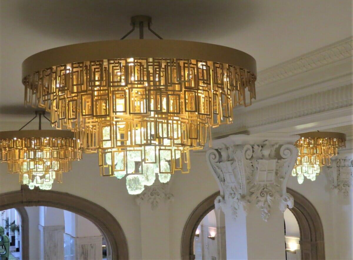 chandeliers in haunted hotel