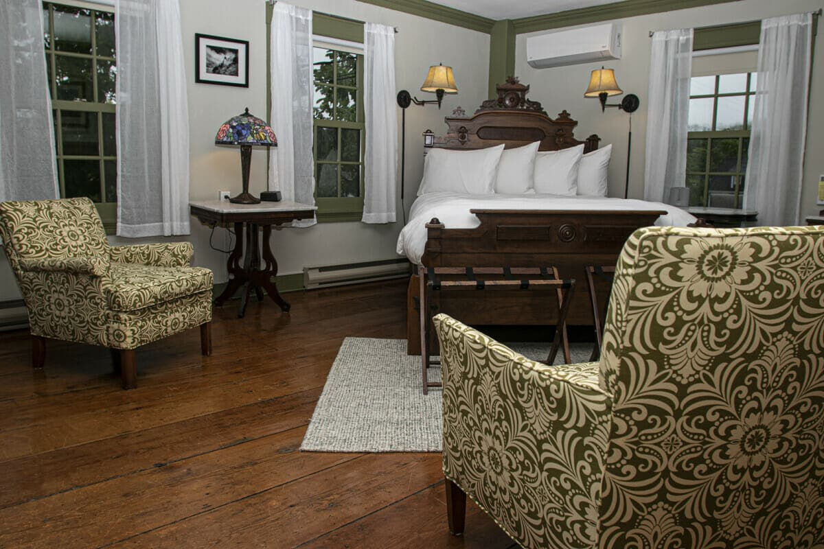 hotel room with 19th century furnishings