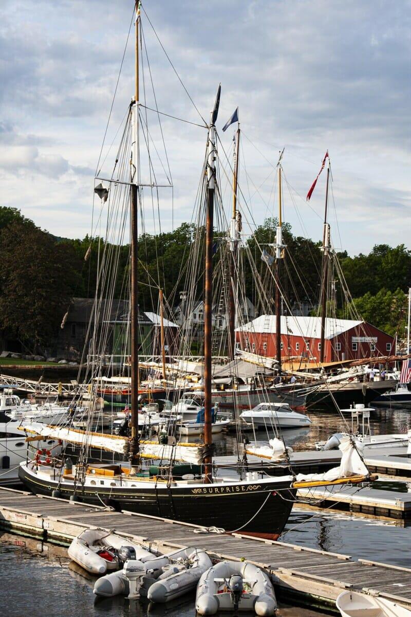 schooner in docked in Camden Harbor