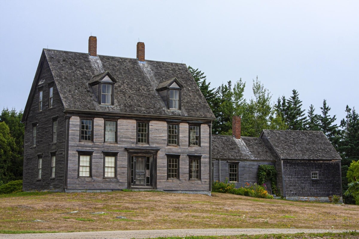weathered clapboard house