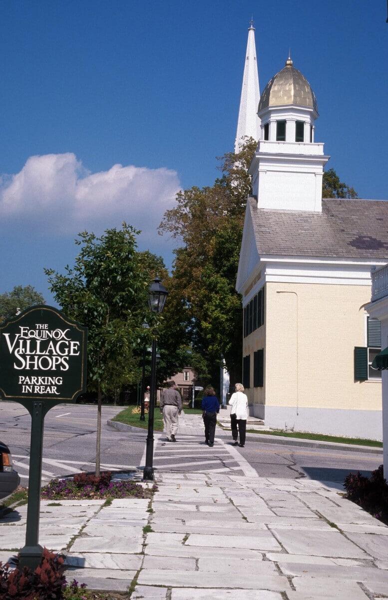 Marble sidewalk in Manchester Village, Vermont