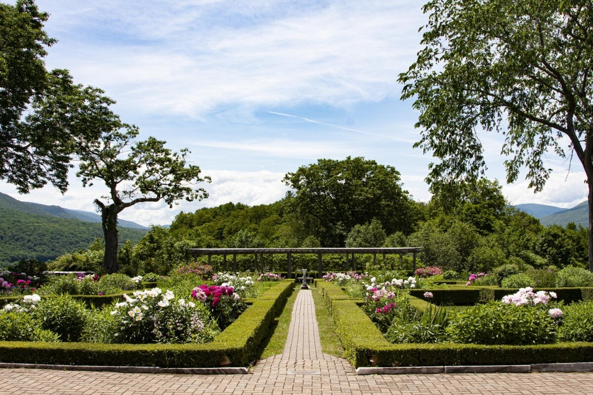 formal garden with trimmed hedges in Vermont