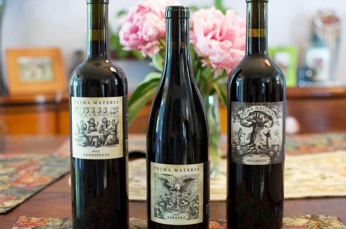Three bottles of Prima Materia Wines Prima Materia Boutique Winery